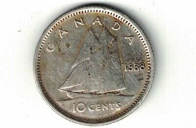 Canada 1938 10 Cents Dime King George Vi Canadian .800 Silver Coin