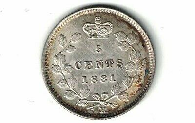 Canada 1881H Five Cents Small Nickel Victoria Sterling Silver Coin Nice Grade