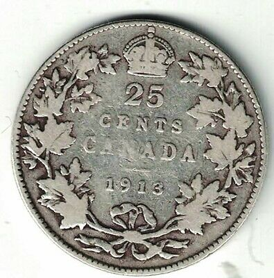 Canada 1913 Twenty Five Cents Quarter King George V Sterling Silver Coin