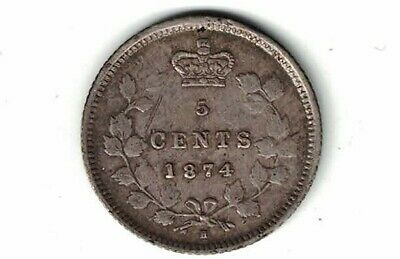 Canada 1874H Plain 4 Sd Five Cents Small Nickel Victoria Sterling Silver Coin