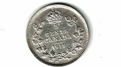 Canada 1919 Five Cent Small Nickel King George V Sterling Silver Coin