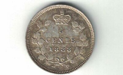 Canada 1888 5 Cents Queen Victoria Sterling Silver Canadian Coin Nice Grade