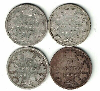 4 X Canada Ten Cent Dimes Victoria Sterling Silver Coins 1896 1898 1899 Sm & Lg9