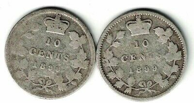 Canada 1899 Small 9'S & Large 9'S 10 Cents Dimes Victoria Sterling Silver Coins