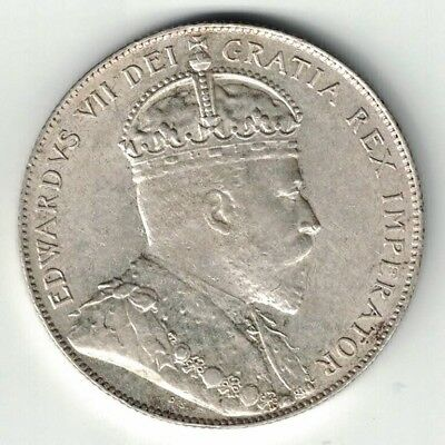 Newfoundland 1909 Fifty Cents King Edward Vii Sterling Silver Coin High Grade