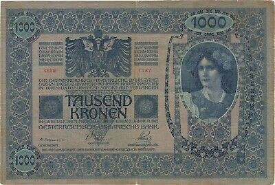 1902 1000 Kronen Korona Austria Hungary Currency Banknote Note Bill No Overprint