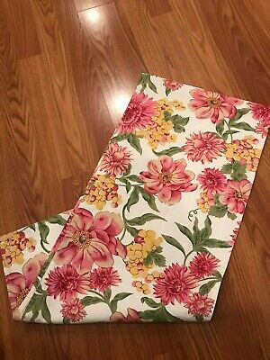 "April Cornell Pink Floral on White Table Runner 13"" x 72"""