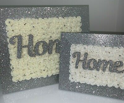 Wall Forever Flower Frame PERSONALISED Glitter 3D Roses  Sparkle Self Stand
