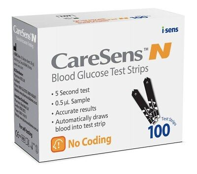 Caresens N Blood Glucose Test Strips 100 for Self-Testing Accurate Results NEW