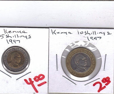 From Show Inv. - 2 BI-METAL COINS from KENYA - 5 & 10 SHILLINGS (BOTH 1997)