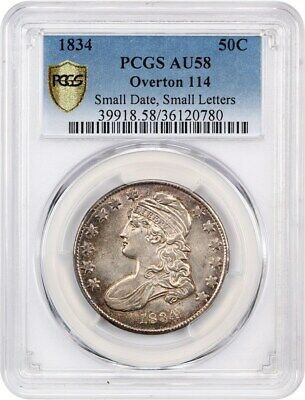 1834 50c PCGS AU58 (Small Date, Small Letters, O-114) Bust Half Dollar