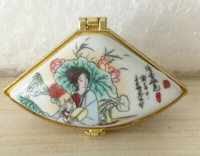 Jewelry box painted ancient Chinese beauty with lotus flowers in summer season