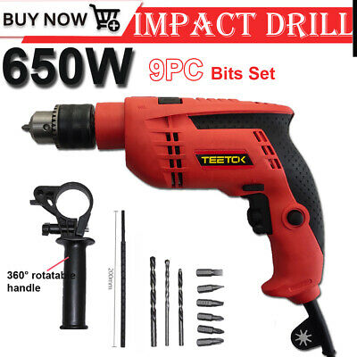 Powerful Tool 650w Hammer Impact Combi Drill Variable Speed Electric Corded 240v