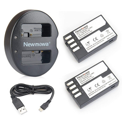 Newmowa D-Li109 Replacement Battery 2-Pack and Dual USB Charger for Pentax K-R