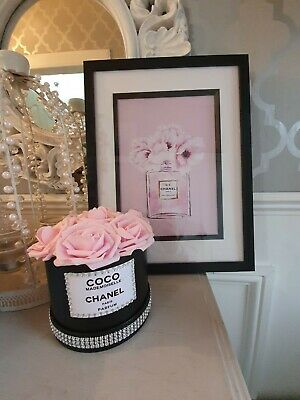 Coco Chanel pink Perfume Bottle Flower Picture Framed white and flower box set