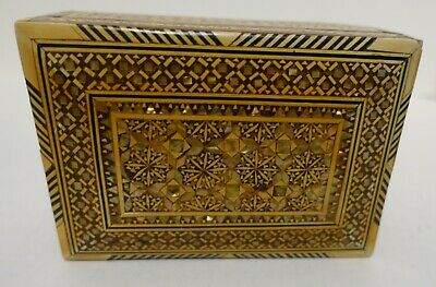 X-208 Inlaid Marquetry And Mother Of Pearl Persian Wood Trinket Box