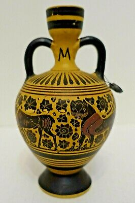X-207 Greek Reproduction Ancient Greece Design Urn, Lion And Gazelle