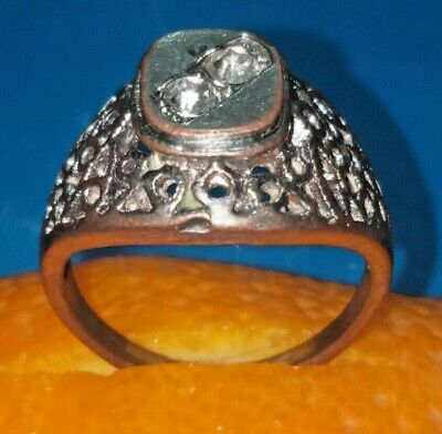 Rare Ancient Solid Ring Roman silvered bronze Stunning Artifact  with Stone
