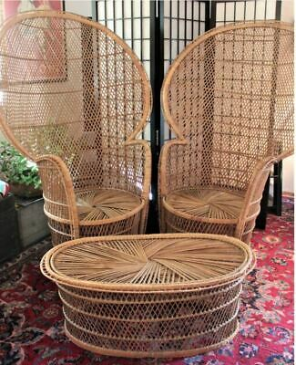 """Set of Two 70's  Boho Vintage Wicker Rattan Peacock Chair Throne 56"""""""