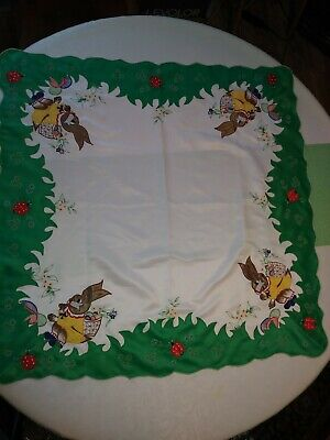 Vintage Table Topper Embroidered Easter Bunny Rabbits Ladybugs  Spring 33x33