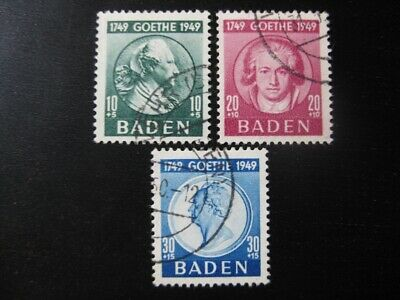 BADEN FRENCH OCCUPATION Mi. #47-49 scarce used stamp set! CV $132.50