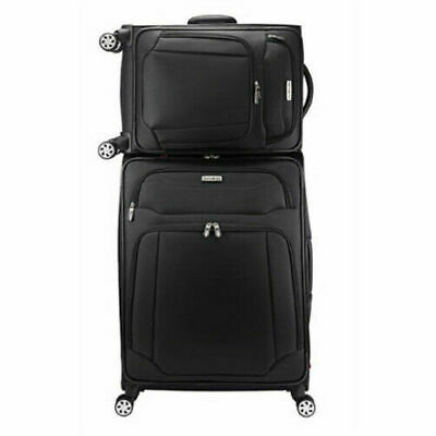 "Samsonite StackIt Plus 2 Piece Stackable 1680D Luggage Set (20"" & 25"" Black Spin"