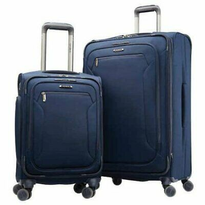 NEW Samsonite Explore Eco 2-Piece Softside Spinner Set Luggage | Navy Suitcase