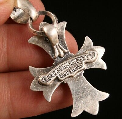 925 Silver Hand-Carved Christian Cross Pendant Custom Collec Old Gift