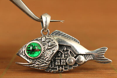 ancient ways rare sterling silver s925 McQueen Machinery fish pendant necklace