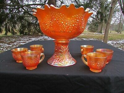 Fenton ORANGE TREE ANTIQUE CARNIVAL GLASS~COMPLETE~8 PC. PUNCH SET~MARIGOLD