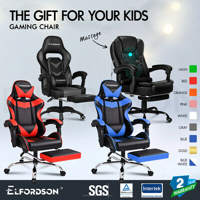 ELFORDSON Gaming Chair Office Executive Racing Footrest Seat PU Leather Computer