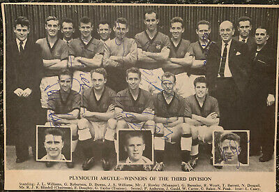 Multi Signed 1950s Plymouth Argyle FC X8 Football Autograph 1960s Team Group