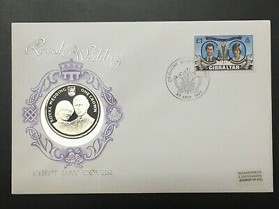 1981 Gibraltar 1 Crown Silver Proof & FDC Cover Lot#B485 Royal Wedding