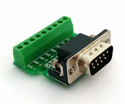 DB9 DSUB 9-pin Male Adapter RS-232 Breakout Board Connector (D1)