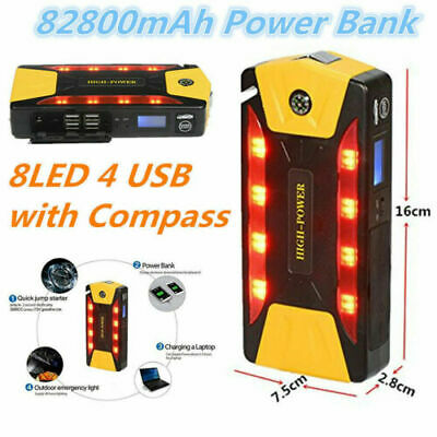 Protable 82800mAh Car Jump Starter Booster 600A Battery Charger 4USB Power Bank