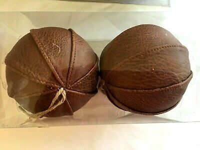 2 Brown Leather Look 4 Inch Ball Christmas Holiday Ornament Decoration