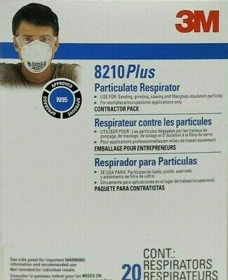 3M 8210 Plus N95 Respirator Mask NIOSH/CDC APPROVED - 20 Pack New Sealed