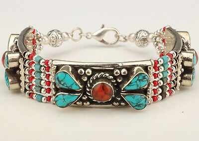 Chinese Tibet Silver Inlaid Turquoise Bracelet Lady Decorative Crafts Gift