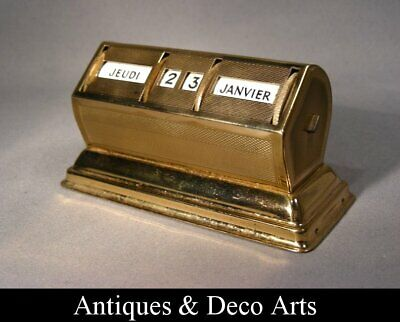 French Art Deco Desk Calendar in Gold-plated Metal