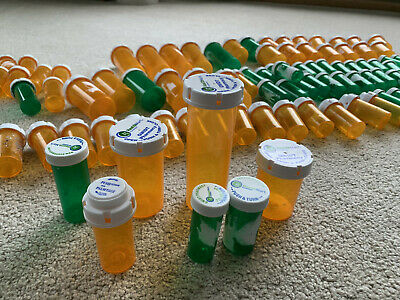 122 Empty Amber & Green Pill Prescription Rx Bottles ASSORTED SIZES locking caps