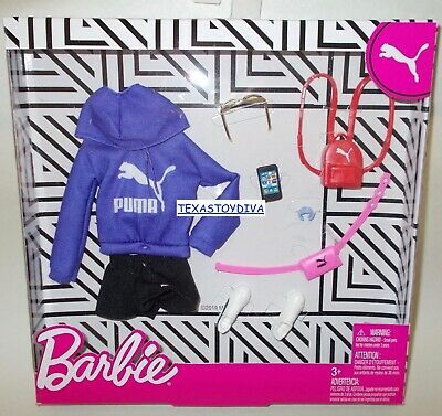 Barbie *PUMA DELUXE FASHION PACK* Purple Hoodie Red Backpack Doll Clothes 2020