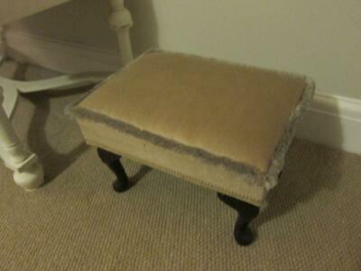 Small Gold Dralon Upholstered Foot Stool Short Cabriole Legs