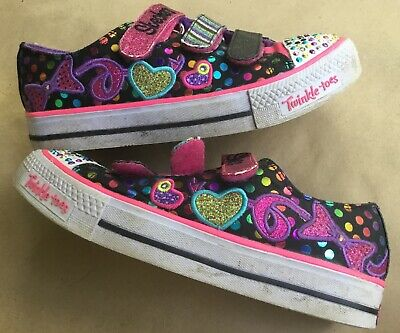 Skechers Twinkle Toes Hearts / Dots Light Up Shoes Girls Size 3 ~ Strap Closure