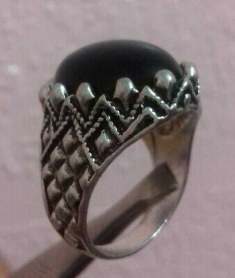 Ancient RARE Ring Roman Silver Color  Artifact WITH STONE