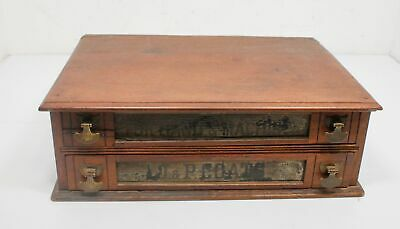 Antique J & P Coats Spool 2 Advertising Drawer Cabinet All Original