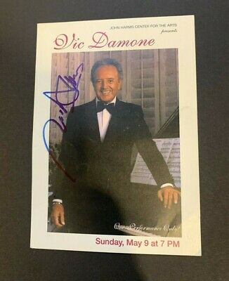 "VIC DAMONE Signed Autographed Concert Promo 6 x 4.5"" Photo Card d.'18"