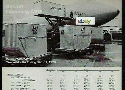 Braniff Boeing 747-200 & Sp Aircraft Operating Data Comparisons Pa-Aa-Tw-Nw-Ua
