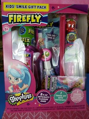 SHOPKINS Firefly Toothbrushes Toothpaste Mouthwash Travel Oral Dental Travel Kit