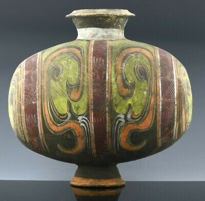 Very Fine Chinese Polychrome Black Pottery Cocoon Jar Vase Han To Tang Dynasty