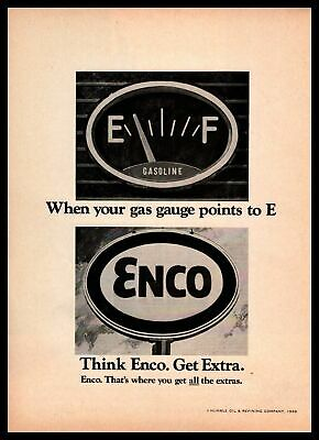 "1968 Humble Oil ""When Your Gas Gauge Points To E Thing Enco,"" Vintage Print Ad"